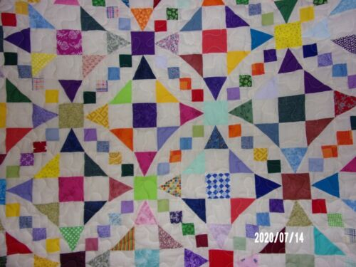 Off White Full/Queen Multi-colored Wedding Quilt measures 87x97