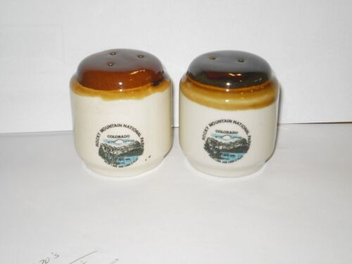 VINTAGE ROCKY MOUNTAIN NATIONAL PARK CO.CERAMIC SALT N PEPPER SHAKERS 1970