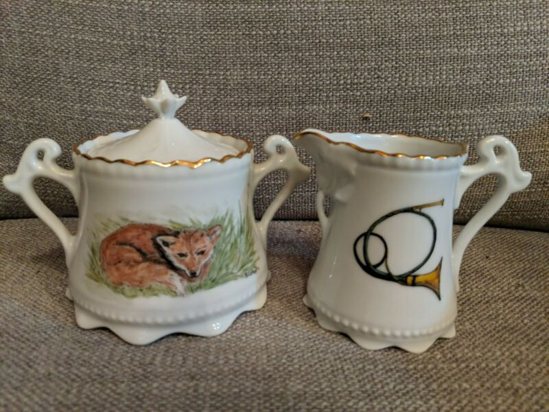 Hand-painted Porcelain Creamer And Lidded Sugar Bowl With Fox