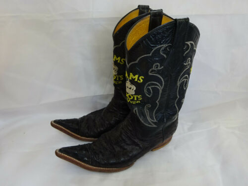 Vintage, Mens, Primo, Distressed, Full, Quill, Ostrich, Cowboy, Boots, Black, 9.5, Ram, LV