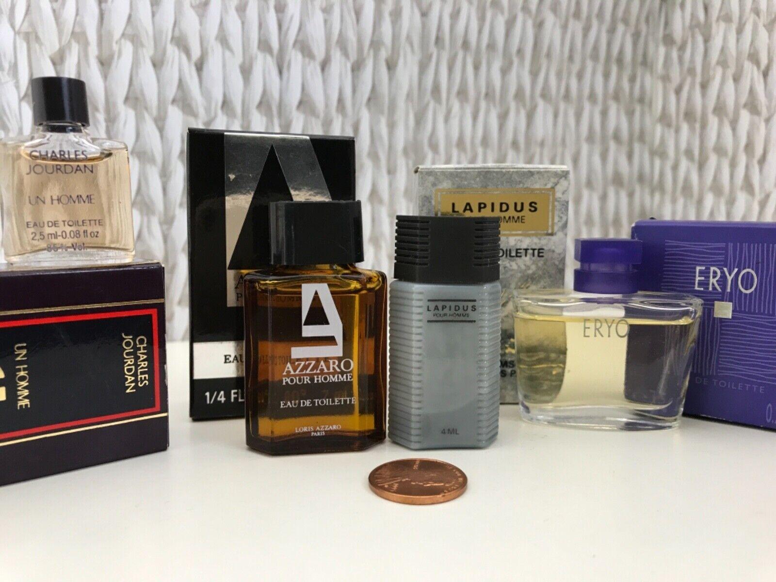 VTG Lot Of 4 Men s MINI Sample Perfumes CHARLES JOURDAN, LAPIDUS, ERYO, AZZARO - $25.99