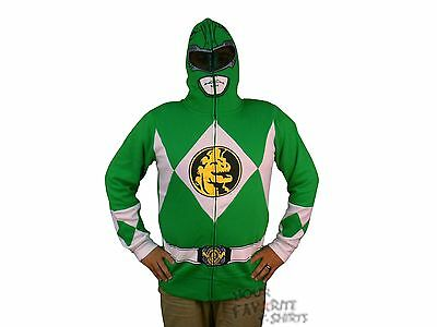 Power Rangers I Am Grün Ranger Kostüm Reißverschluss Kapuze