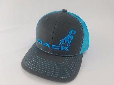 Mack Trucks Charcoal & Neon  Bulldog Logo Trucker Style Hat/Cap Richarson 112 3D - Mack Truck Hats