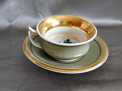 Biedermeier Tasse mit Unterteller Porzellan Handbemalt