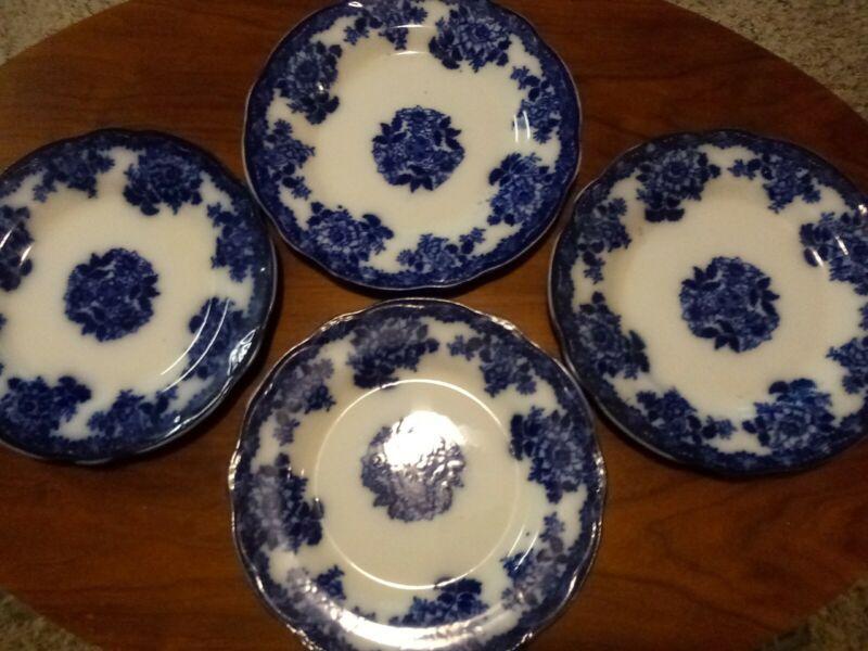 "Flow Blue WALDORF PATTERN New Wharf Pottery 9"" Plates (4)"