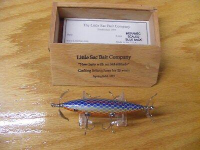 Little Sac Bait Co Meramec Minnow Glasseye Lure Scale Blue Back in Wood Box