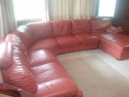Real leather corner lounge