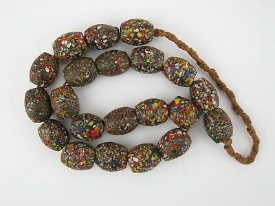 Trade beads. Strand of Indian 'crumb' glass beads