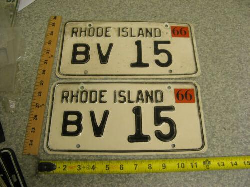 1966 66 RHODE ISLAND RI LICENSE PLATE TAG PAIR SET #BV 15