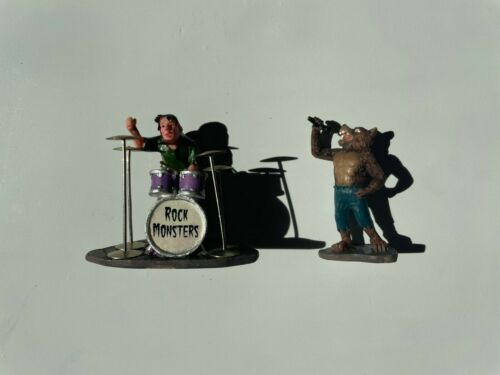 *RARE* Lemax Spooky Town #52110 Rock Monsters Werewolf and Drummer Figures! L@@K