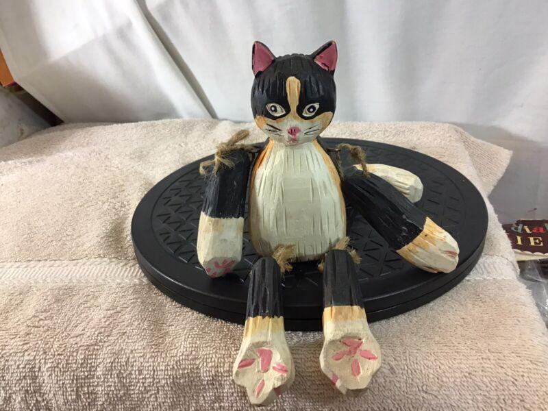 Vintage Folk Art BLACK CAT Carved Wood Jointed Shelf Sitter pre-owned