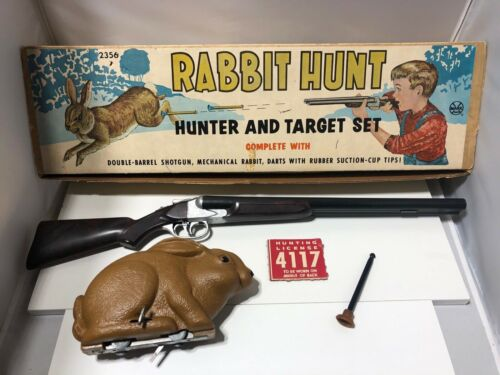 Vintage 1950's Marx Rabbit Hunter and Target Set in Original Box! LOOK!
