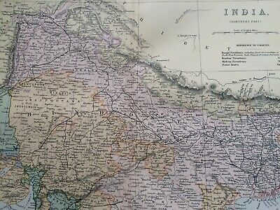 1891 India (Northern) Original Antique Map Punjab Nagpore Calcutta Gujarat