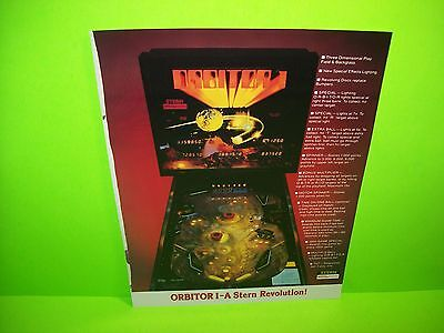 Stern ORBITOR 1 Original 1982 Flipper Game Pinball Machine Promo Sales Flyer