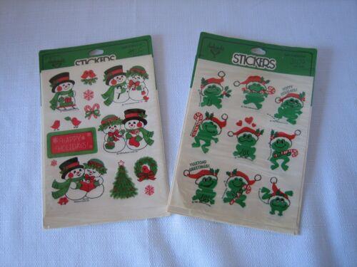 VTG  Six Hallmark Sticker Sheets 1978 Snowman & 1982 Frog Hoppy Holidays