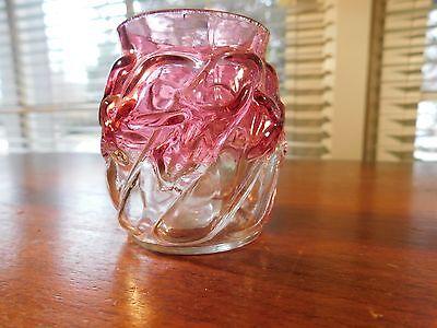 NORTHWOOD Rubina ROYAL IVY Cranberry Art Glass Antique TOOTHPICK HOLDER c1890