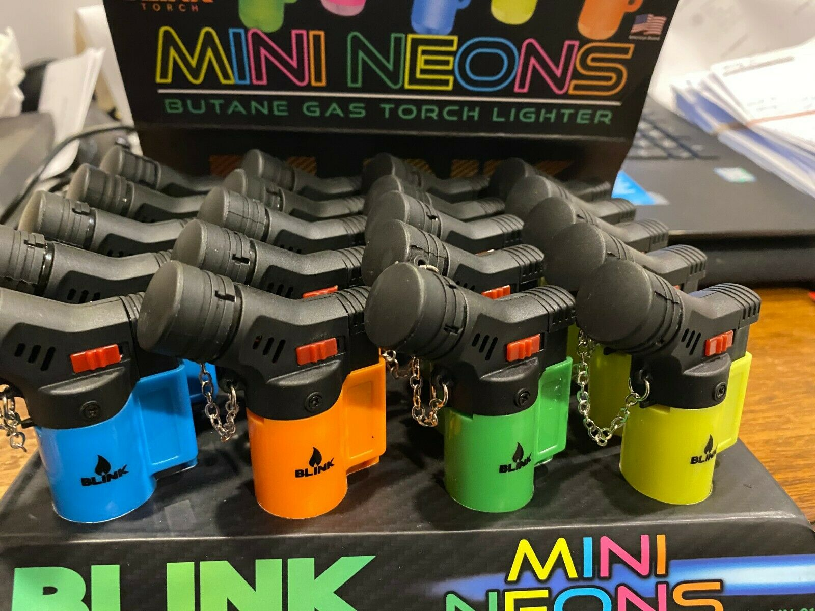 Blink Butane Gas Torch Lighter Neon with Adjustable Flame Re