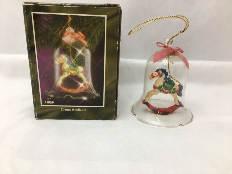 Christmas ornament Victorian Rocking Horse Young Stallion Bell glass 3""
