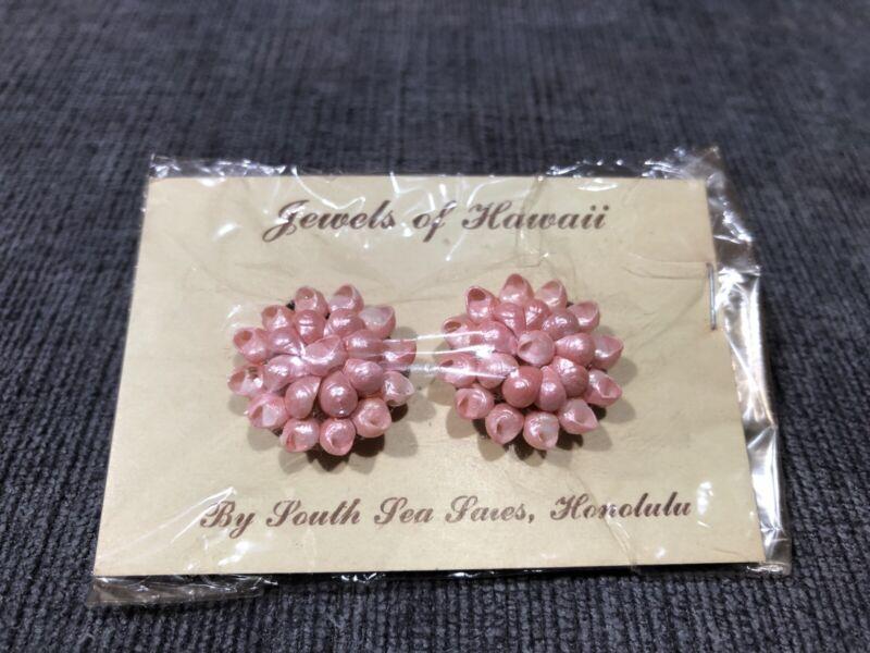 Vintage Hawaiian Islands Genuine Tiny Snail Sea Shell Cluster Screwback Earrings
