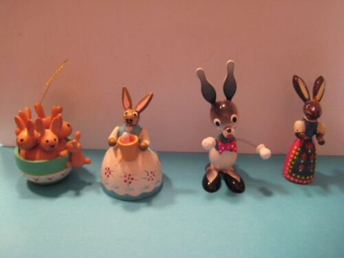 Lot of 4 Vintage Wood Easter Bunnies figurines~Spring head Fun Collection