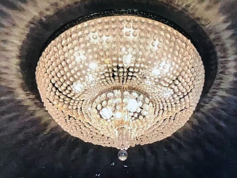 "MASSIVE 36"" VINTAGE GLASS CEILING LIGHT FIXTURE Ballroom Casino CHANDELIER 1of15"