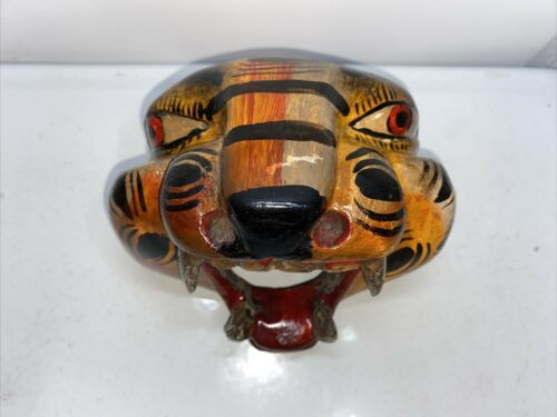 Tiger Head Mask Hand Carved Mexican Wooden Carving Figure Folk Art Statue
