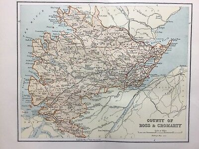 Ross and Cromarty, Antique County Map c1900, Scotland, Atlas, Gair Loch, Beauly