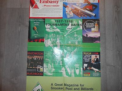 EMBASSY WORLD SNOOKER CALENDAR SHEET 1987-1988