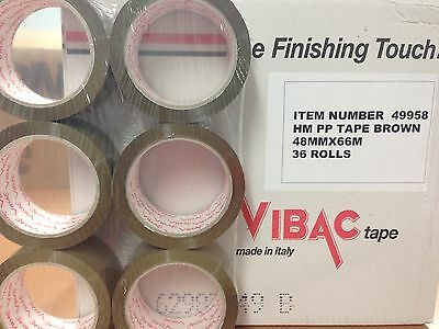 12 ROLLS VIBAC BROWN / BUFF PACKAGING / PACKING TAPE 48MM X 66M FREE 24HR DEL