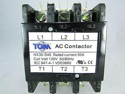 Definite Purpose Contactor 50amp 3 Pole 120vac-5060hz-heat Pump Ac Refriger.