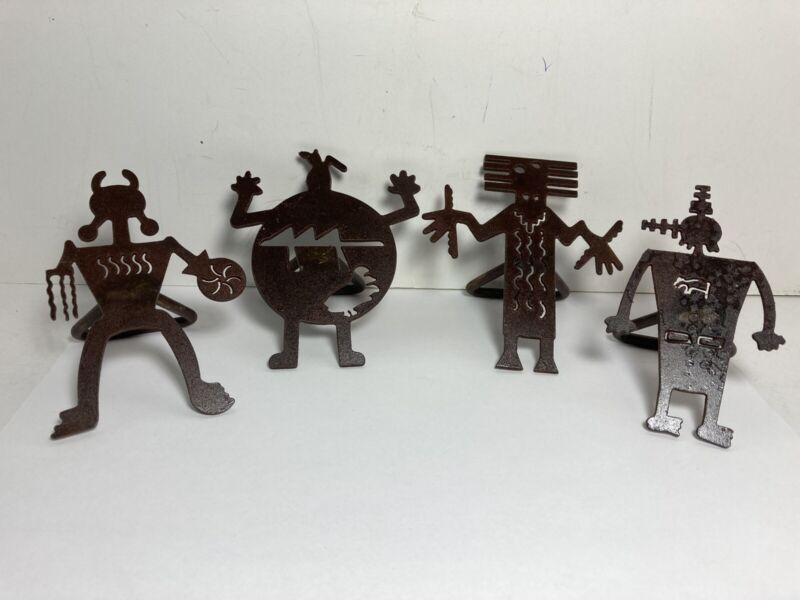 Rustic Metal Tribal Southwest Style Napkin Rings Set Of 4