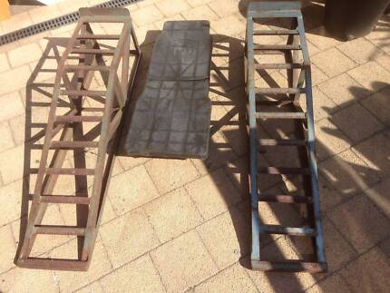 2 Metal Wheel Ramps with Plastic Creeper Beckenham Gosnells Area Preview