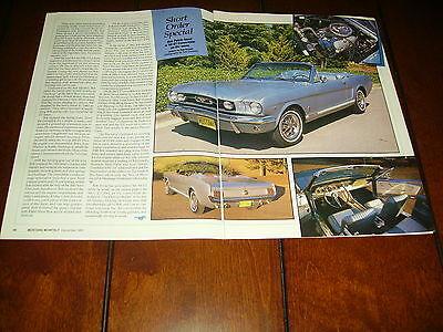1966 FORD MUSTANG GT CONVERTIBLE ***ORIGINAL 1990 ARTICLE***