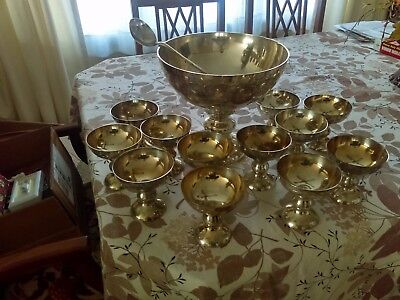 VTG PUNCH BOWL SET SILVER PLATED WITH 12 MATCHING CUPS  Ladle