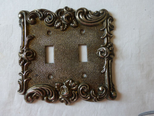 VTG 1967 American Tack & Hardware Ornate Roses Metal Double Switch Plate Cover