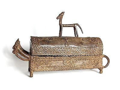 Mega Rare African Tribal Antique Dogon Cast Bronze Large Lidded Vessel Kuduo 2