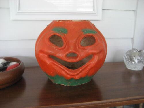 Vintage pulp paper mache jack o lantern, good shape, Halloween