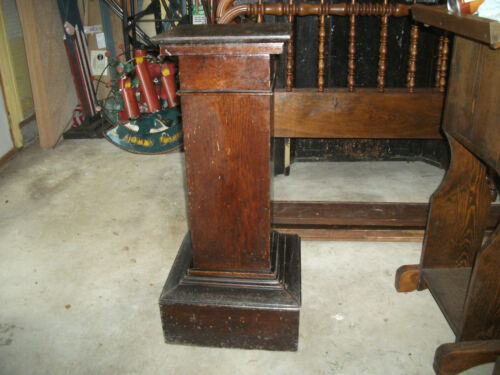 "Antique pedestal wood stand, Masonic temple furniture 33.5"" tall"