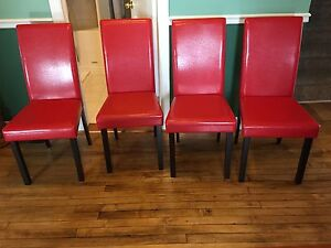 Red Faux leather chairs set of 4