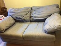 Denim pullout love seat couch