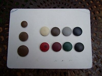 old sample card of 11 antique Paris, France French leather buttons~1900's~sewing