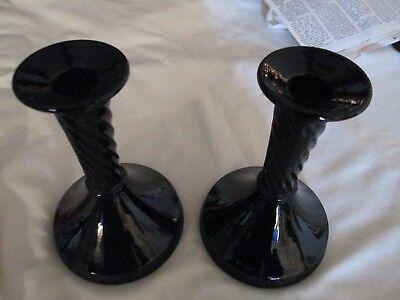 black amethyst candleholder pair; swirl design on neck; vintage era