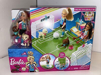 Barbie Dreamhouse Adventures Chelsea Doll Pups w Soccer 15 Pieces Play Set...