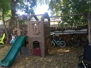 Kids swing and slide set