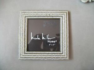 nicole miller picture frame nwt gray metal pearl accents square 4x4 photo