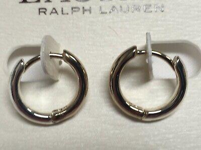 "Ralph Lauren Small Two Tones Hoop Silver Plated Earrings 1/2"" Macy's New P547"