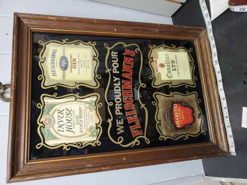 fleischmann mirror advertising Frame Vint Breweriana Liquor Whiskey Tavern Beer