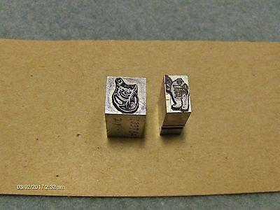 Vintage Letterpress Press Metal Print Blocks 2 Misc.fat Guy And New 1990