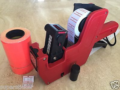 Us Seller Mx-5500 8 Digits Price Tag Gun Labeler 2000 Red Tags Labels 1 Ink