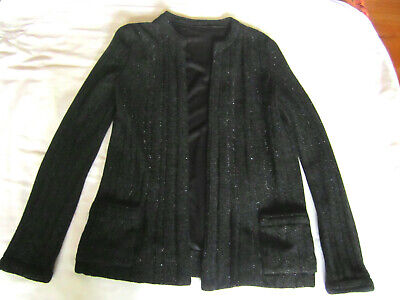 VTG GUCCI WOMENS BLACK SWEATER JACKET RIBBED KNIT METALLIC THREADS. SZ SMALL